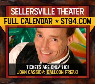 John Cassidy is an explosion of color and fun! Bring the whole family to the Sellersville Theater on August 3 for a balloon-shaping, fun-having extravaganza! According to MAGIC Magazine, John is one of the funniest magicians working today and he holds several Guinness World Records for balloon sculpting. He's performed on countless TV shows and at the White House!