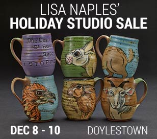 Lisa Naples will open her Doylestown ceramic studio for the 19th Annual Fall Show and Sale. Lisa is a celebrated ceramic artist who has won National jury awards, taught workshops and lectured around the country. Come out to view and purchase her widest range of work made available annually. This year, Lisa welcomes emerging artist Alex Kuhn as her guest artist. Alex works in pyrography as well as pen and ink. The studio sale will also include pottery and sculpture made by Lisa's talented students. Weaving and embroidery from a recent adventure in Uzbekistan will also be for sale.